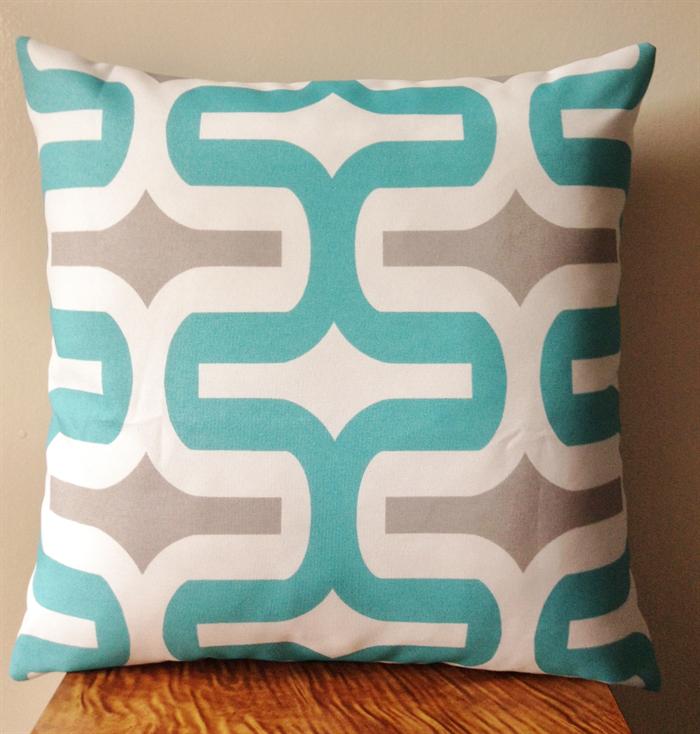 Aqua Blue Grey Embrace Outdoor Cushion Cover Rubi Designs