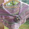 shoulder or hip wrap in soy/wool yarn with vintage button and fibre brooch