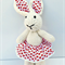 Rosie the Knitted Bunny Rabbit Toy with Love Heart  Party Skirt with Pompom trim