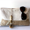 Zippered clutch / pouch / purse - linen and cotton with pom pom zip pull