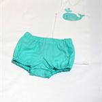 SALE!  happy whale 1 boys' applique singlet/nappy cover aqua jade white