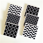 Black & White Coasters: 6 Ceramic Tile Drink Coasters Chevron Chainlink Moroccan