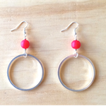 LARGE RED RESIN COLOUR BASICS SIMPLE SILVER CIRCLE EARRINGS - FREE SHIPPING
