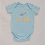 """SALE baby boy vintage style """"tricycle"""" appliqued onesie size 00 pale blue"""