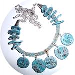 Asymmetric Aqua and silver necklace