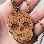 Sugar Skull Laser Cut Wood Necklace