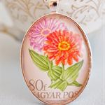 1968 Vintage Postage stamp, flowers, pendant