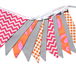 Hot Pink Chevron, Orange Dots and Grey Flag Bunting. Neon Brights Party Decor