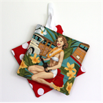 2 x Reversible Pot Holders - Hawaiian Pin-up girls with white polka dots on red