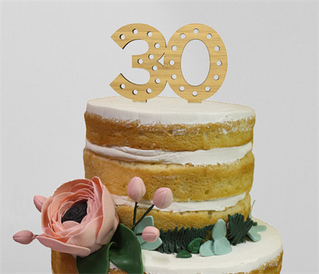 Laser Cut Bamboo Wood 30 Years Old Milestone Birthday Anniversary Cake Topper