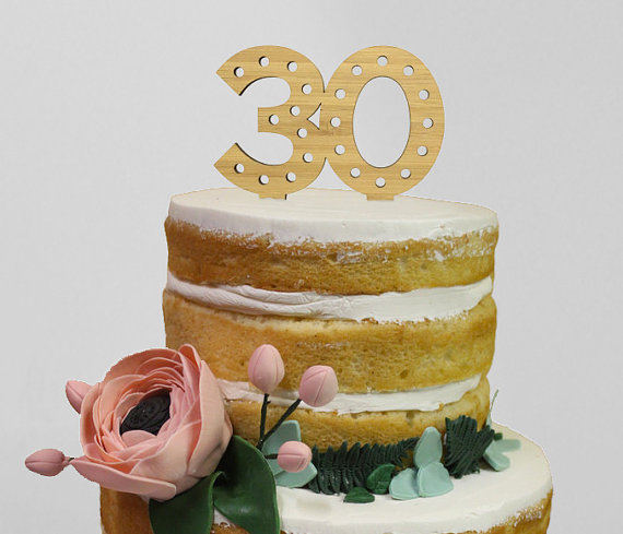 Laser Cut Bamboo Wood 30 Years Old Milestone Birthday Anniversary Cake Topper