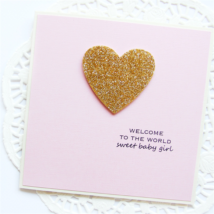 baby girl card gold glitter heart with pink welcome to the world
