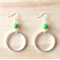 LARGE GREEN RESIN COLOUR BASICS SIMPLE SILVER CIRCLE EARRINGS - FREE SHIPPING