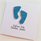 Newborn welcome baby sparkly blue pink glitter baby feet custom card add name