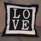 LOVE CUSHION COVER - BLACK AND WHITE - MONOGRAM