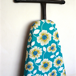 Ironing Board Cover - big white and yellow flowers on teal background- Decor