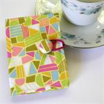 Tea Bag Wallet - Hidden Neon Hearts on Lime with chevron zigzags.