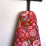 Ironing Board Cover - bright retro colourful flowers on red background- Decor