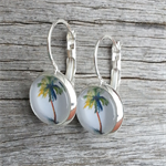 Glass dome hoop earrings - Tropical palm tree