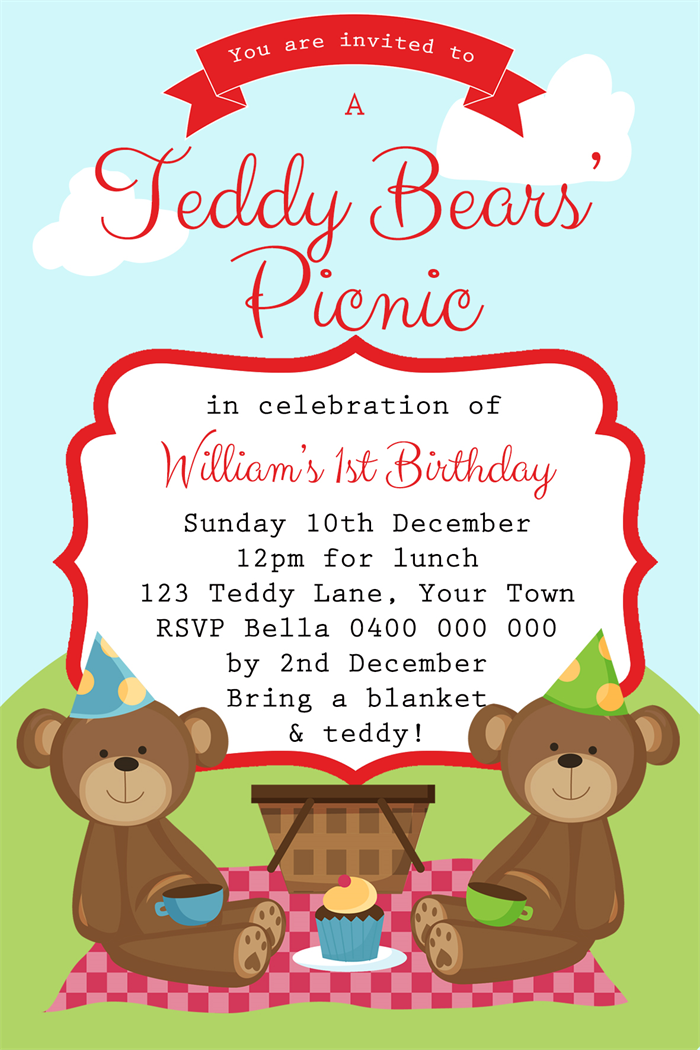 Boys Birthday Invitation- Teddy Bears Picnic - D01 | Three Peas ...