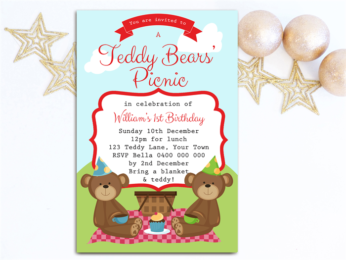 Boys Birthday Invitation Teddy Bears Picnic D01 – Teddy Bears Picnic Party Invitations