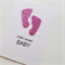 Newborn hello sweet baby girl with lush sparkly pink glitter baby feet card