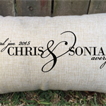 Gorgeous couples pillow with date and names - perfect gift and keepsake!
