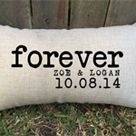FOREVER couples pillow with date and names - lovely gift for special occasions.