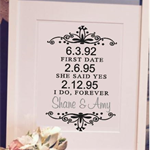 Personalised Date Anniversary Gift-   Perfect Gift for Weddings, Engagement