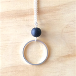 LARGE BLACK RESIN COLOUR BASICS SIMPLE SILVER CIRCLE LONG PENDANT NECKLACE