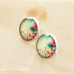 Water Color Poppies Resin Silver Post Earrings