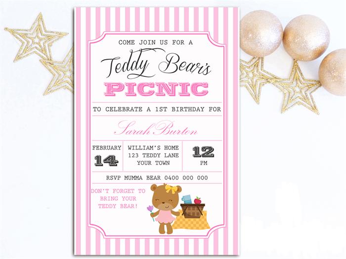 girls birthday invitation teddy bears picnic d01 three peas