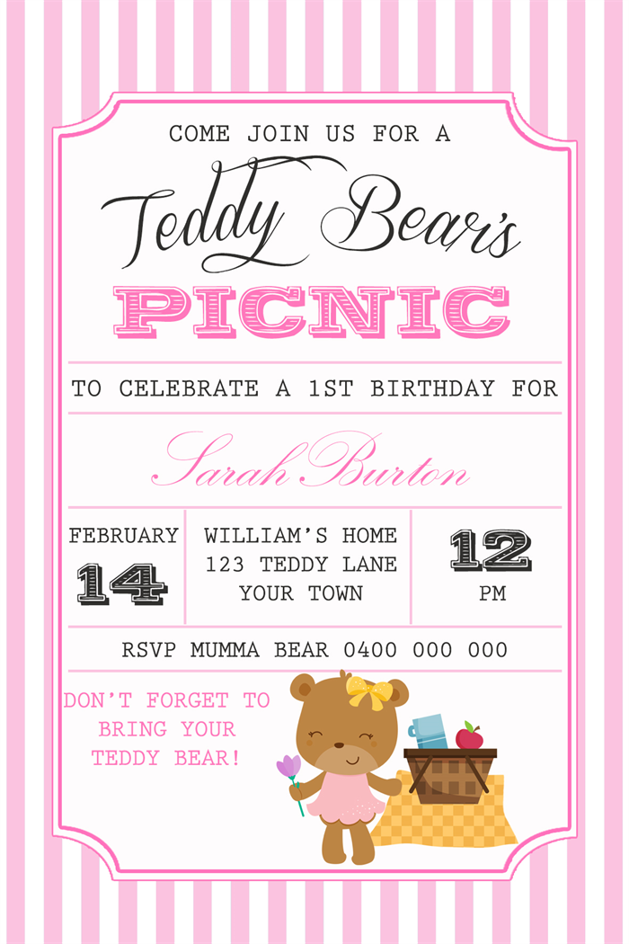 Girls Birthday Invitation Teddy Bears Picnic D01 – Teddy Bears Picnic Party Invitations