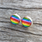 Glass dome stud earrings - Rainbow