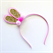 Bunny Ears Headband - Gold Glitter & Pink - Pink Pom Poms