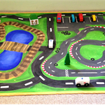 Hand Painted Play Mat with Race Track & Train Track.
