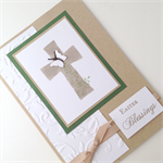 Easter Card - Kraft and Green, ink-sponged Cross