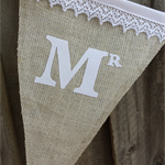 """""""BURLAP & LACE"""" Additional Flags for Personalised Wedding Bunting by Arti Mardi"""