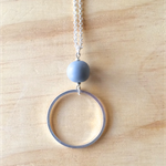 LARGE GREY RESIN COLOUR BASICS SIMPLE SILVER CIRCLE LONG PENDANT NECKLACE