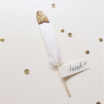 Glitter Gold Dipped Feather Place card