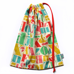 Drawstring School or Kindy Library Bag. Typography. Letters. Pink, Red & Teal.