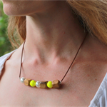 Swarovski White + Neon Yellow pearls, Wood, Sterling Silver, necklace