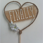 "Rustic ""FINALLY"" cake topper"