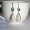 Vintage Czech clear crystal Japan pearl silver dangle drop earrings bridal