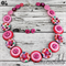Pink Flower Spring Fling - Button Necklace - Button Earrings - Set