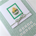 Easter Card - Cross stitch chick, green