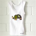 jungle monkey | elephant singlet | charcoal grey & orange