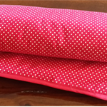 "Red ""Spots & Stripes"" Baby Blanket / Cot Cover / Pram Cover / Play Mat."