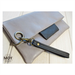 Grey Leather fold over clutch with wrist strap
