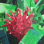 Red Bromeliad Original Acrylic Painting